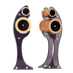 Courbe-Elle-High-End-Handmade-Solid-Wood-2Way-Loud-Speaker-with-Dark-Acryl-Stand
