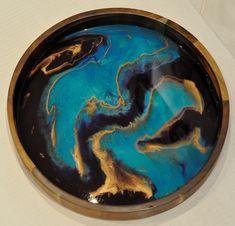 Wood Resin, Resin Art, Serving Tray Wood, Round Tray, Art Courses, Acacia Wood, Sea Foam, Art Work, Northern Lights