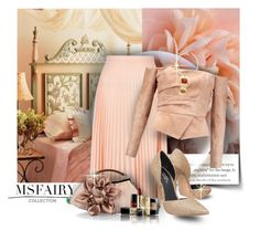 """Pink Pleated Midi Skirt + Balmain Off-the-shoulder suede top + Carvela Albert High Heel"" by mlka ❤ liked on Polyvore featuring New Look, Balmain, Carvela, Chico's and Lancôme"