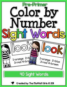 These Color by Number Sight Words are a F-U-N way to introduce kids to 40 Dolch sight words/high frequency words.