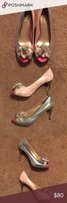 Poetic license heels Brand new. Tried on but never worn! These are SO cool- they have a split color on them- they are sparkles python on the outside and pink python on the inside! Size 39.5 is on the bottom- but they really fit more like an 8.5-9 Poetic License Shoes Heels