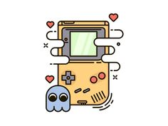 Gameboy by Skang Line Illustration, Graphic Design Illustration, Line Design, Icon Design, Flat Design, Paar Tattoo, Pokemon, Guache, Video Game Art