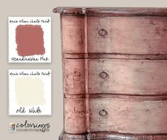 Pretty in pink. And what could be prettier than layers of Annie Sloan Chalk Paint® Scandinavian Pink on an old chest. Mix with different amounts of Old White to create shading and hi...