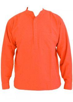 6c814abd9 Coral Pink Orange Grandad Collarless Shirt Cotton sizes Small to 2XL  Amazon .co.uk  Clothing