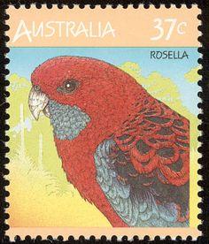 Rosella ,  Australian King Parrot , Alisterus scapularis parrot . Australia bird stamps
