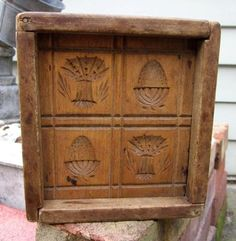 Turn Of The Century Blanchard New England Style Box Butter Mold All Things New, Old Things, Springerle Cookies, Butter Molds, Churning Butter, Chip Carving, New England Style, Your Turn, Wood Design