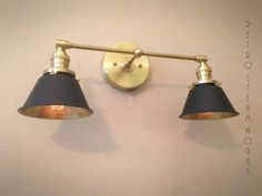 Wall Mount Industrial Light - Polished Brass & Black Modern Sconce Cone Lamp