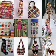 Granny Square Dress, Skirt, Purse, Pillow, Blanket Collage