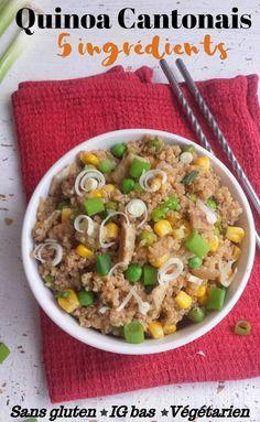 Quinoa Cantonais 5 Ingrédients {Sans gluten,Ig bas, Végétarien} - My healthy sweetness