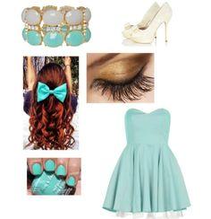 Blue dress Wavy hair Blue bow Laced heels Blue nails Golden eye Faded blue bracelet