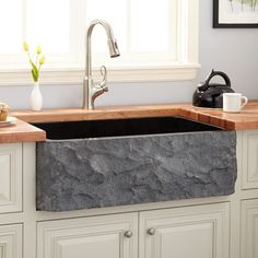 "36"" x 20"" x 10"" Polished Granite Single Bowl Farmhouse Sink with Chiseled Apron - Polished Black Granite"