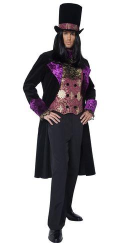 Vampyyrikreivi. Vampyyrikreivin naamiaisasu on todellisen herrasmiehen tyylikäs pukine. Upeasti kirjailtu violetinsävyinen kangas koristaa sekä liiviä, hihansuita sekä hattua.