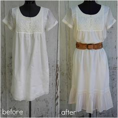 Great tutorials for adding sleeves to sleeveless dresses, changing a low neckline and adding length to a dress plus more!