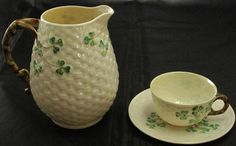 "Belleek ""Shamrock"" Basket Weave 6"" Pitcher and Cup & Saucer  (Black Mark) 1926-1946"