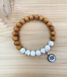 Excited to share this item from my shop: Sandalwood+Howlite Bracelet Wood Bracelet, Handmade Jewelry, Unique Jewelry, Gemstone Bracelets, Essential Oil Diffuser, Turquoise Beads, Wooden Beads, Make And Sell, Hobbies