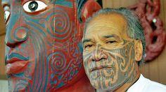Face, Moko, Maori, Aotearoa, NZ, New Zealand, Ngapuhi Maori elder Kingi Taurua sports traditional facial tattoos, known as moko, at a marae in Whangarei
