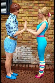 Barbie and Ken from 'toy story 3' couples costume; insanely detail-oriented to perfection.