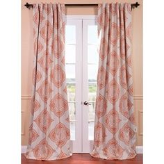 @Overstock.com - Henna Blackout Curtain Panel - This Henna curtain panel features a blackout design with a lovely cream and orange pattern. The fabric is soft with a refined texture made with a special polyester yarn and these curtains keep the light out while providing optimal thermal insulation.  http://www.overstock.com/Home-Garden/Henna-Blackout-Curtain-Panel/8274680/product.html?CID=214117 $52.99