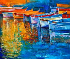 Original oil painting of boats and p er on canvas P r of the sun over ocean Modern Impressionism - Photos - Images Image Bank