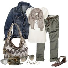 army green pants, created by stacy-gustin.polyvore.com