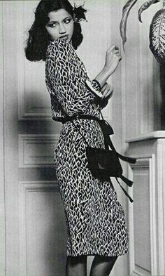 Model Kirat in Yves Saint Laurent   Spring 1980
