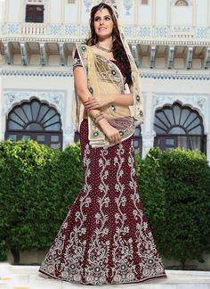 Sizeable Maroon & Beige Velvet On Net Lehenga Saree