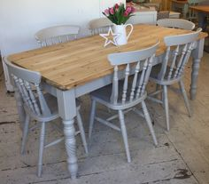 Lovely large solid pine country style table. Painted in: Farrow & Ball 'Elephants Breath' This gorgeous table sits on solid classic style turned legs. The table features a single drawer to EACH end & a 3cm thick solid pine top. For transport the table top can be removed from the base & the legs can be …
