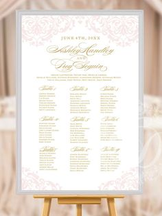 $39 USD Blush Pink and Gold Wedding Seating Chart or Seating Plan RUSH ORDER by ColourfulDesignsInc