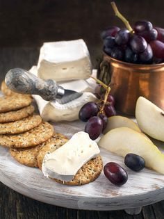 Cheese Brie with pear and grapes on a wooden board | Flickr - Photo Sharing!