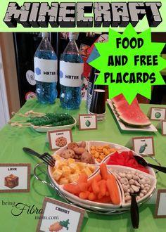 Minecraft food and FREE placards #Minecraft #MinecraftPrintables  http://www.beingfibromom.com/minecraft-party-food-plus-free-printables/