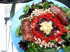 Summer Main Course Salad with Beans and Basil, use a Field Roast Italian sausage instead, amazing, just use more greens and a little less basil next time!