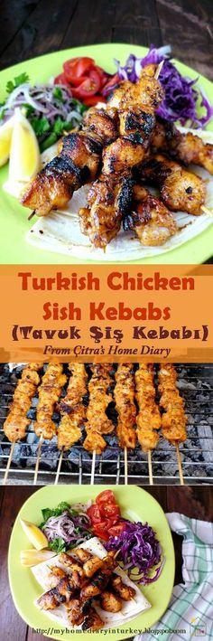 Tavuk Şiş Kebabı. Tavuk means Chicken in Turkish language, Şiş Kebabı is skewer kebab/ kabob. The spice using for this sish kebab is commonly use for any kind sish kebab that usually sold at kebab lokanta (restorant) here. #turkishkebab #turkishfood #middleeastern #chicken #sishkebab #kabob #maindish