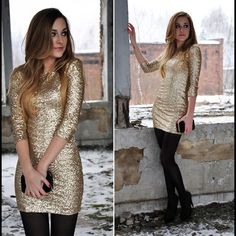 gold sequin dress and black tights Vestidos Vintage, Vintage Dresses, Gold Sequin Dress, Gold Sequins, Love Fashion, Womens Fashion, Fashion Beauty, Glamour, Textiles