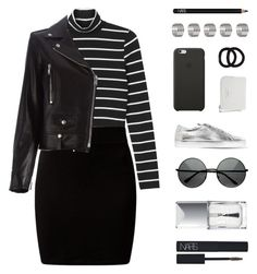 """""""Earn Your Stripes"""" by starit ❤ liked on Polyvore featuring Monki, New Look, Yves Saint Laurent, MLC Eyewear, Common Projects, Christian Dior, Black Apple, John Lewis, Topshop and NARS Cosmetics"""