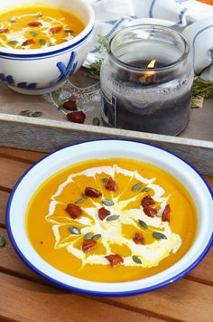 Soup Maker Recipe: Pumpkin Soup, delicious and smooth with carrot, sweet potato and chorizo croutons! Happiness in a bowl! Pumpkin Soup, Pumpkin Recipes, Blender Recipes, Bowl Of Soup, Soups And Stews, Cheeseburger Chowder, Sweet Potato, Crisp, Carrots