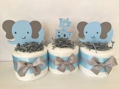 Set of 3 Elephant Mini Diaper Cakes in Blue and by AllDiaperCakes