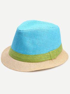 fba3199c585 Colorblock Vacation Straw Fedora Hat Straw Fedora