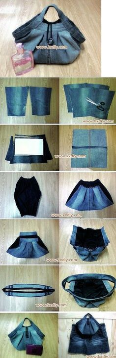39 Ideas sewing projects bags old jeans diy Diy Jeans, Jeans Refashion, Sewing Jeans, Diy Purse From Jeans, Diy Denim Purse, Diy Purse No Sew, Denim Bags From Jeans, Sewing Tutorials, Sewing Projects