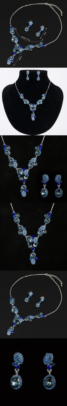 2015 New Design Free Shipping Ellipse Crystal Wedding Bridal Jewelry Sets including Necklace Earrings for women N167