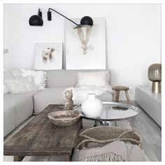 Harmony - these cool browns, white, and balck are just so relaxing and make a harmony. Harmony Home, Living Area, Living Room, Natural Interior, White Walls, Coffee Tables, Contrast, Relax, Couch