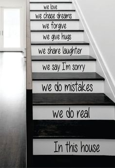 In This House Stairs Decal Sticker Wall Vinyl Art by BoopDecals, $33.00 ... I like the font on this one