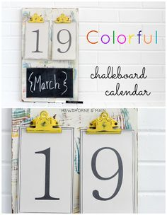 This DIY Colorfull Chalkboard Calendar is super fun for an office space or any where you want add a bit of color!!