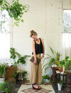Tribal print silk pants. Lyon Falls 2014 Summer Lookbook. lyonfalls.com