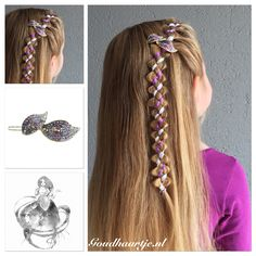Four strand irregular ribbon accent loony braid with a beautiful purple hairclip from Goudhaartje.nl