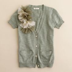 Girls' belle fleur cardigan - love the color and embellishments