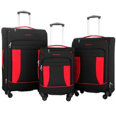 Travelhouse 3 Piece Softshell Deluxe Expandable Spinner Luggage Set -- Visit the image link more details. (This is an Amazon Affiliate link)
