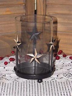 primitive candle holder crackle black star farmhouse country home decor