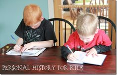Personal History for Kids...this site has some great ideas on how to record milestones and your kids personal history from the beginning.