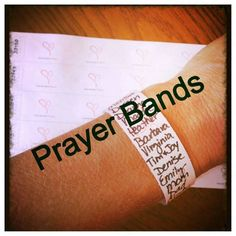 Keep those that need your prayers close at hand. Even if you're not a 'pray'er- sometimes its nice to have those names close. When you look down at the band you'll be thinki…