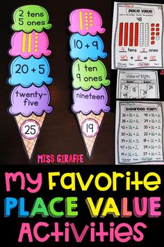 Place value activities that are so fun to practice tens and ones, expanded form, numbers in base 10 worksheets and games including values of digits and just a ton of engaging resources for number sense! Place Value Games, Place Value Activities, 2nd Grade Activities, 1st Grade Math Worksheets, Teaching Activities, Teaching Math, Maths Resources, Teaching Ideas, Tens And Ones Worksheets